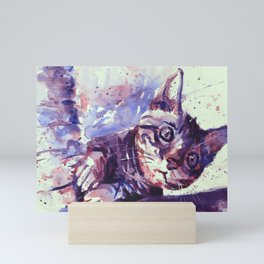 Kitten playing with scratching post colorful watercolor painting kitten artwork Mini Art Print