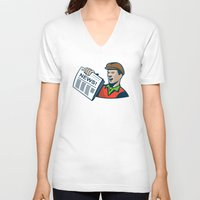 newspaper V-neck T-shirts featuring Newsboy Newspaper Delivery Retro by retrovectors