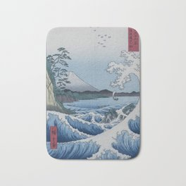 Sea Off Satta - Japanese Woodblock Print by Hiroshige Bath Mat