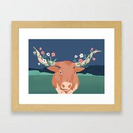 Longhorn Florals Framed Art Print