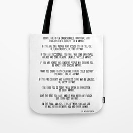 Do It Anyway by Mother Teresa 3 #minimalism #inspirational Tote Bag