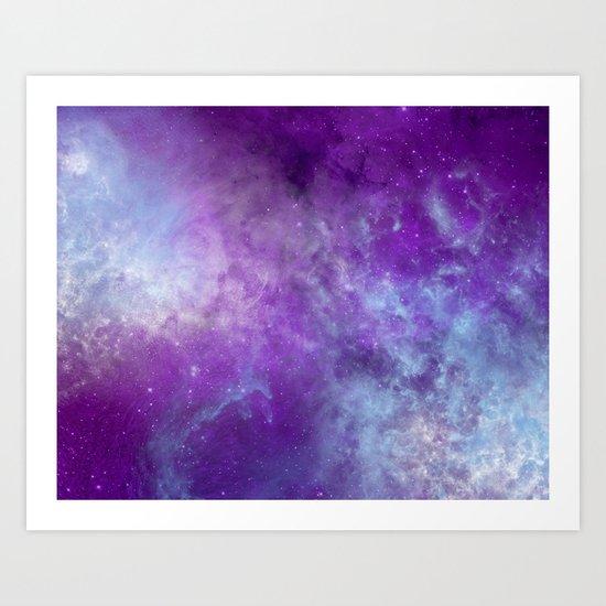 Purple Cloud Nebula Watercolor Universe Art Print