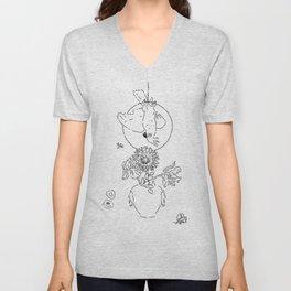 Parrot&Vase of Flowers Summer Still Life Black&White Unisex V-Neck