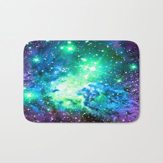 Fox Fur Nebula BRIGHT : Green Blue Purple Galaxy Bath Mat