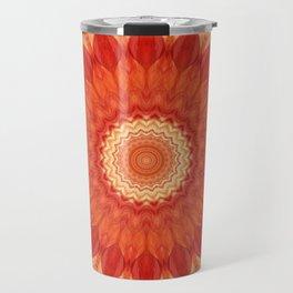 Mandala orange red Travel Mug