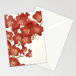 Red Orchids Stationery Cards