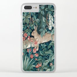 William Morris Forest Rabbits and Foxglove Clear iPhone Case