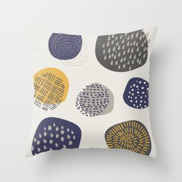 Abstract Circles in Mustard, Charcoal, and Navy Throw Pillow