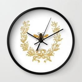 French Bee acorn wreath Wall Clock