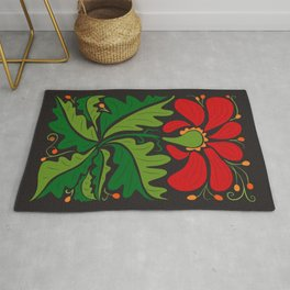 Big Red Dahlia (abstract hand-drawn flower) Rug