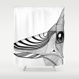 Geometric Architectural Bird - Face 01 Shower Curtain