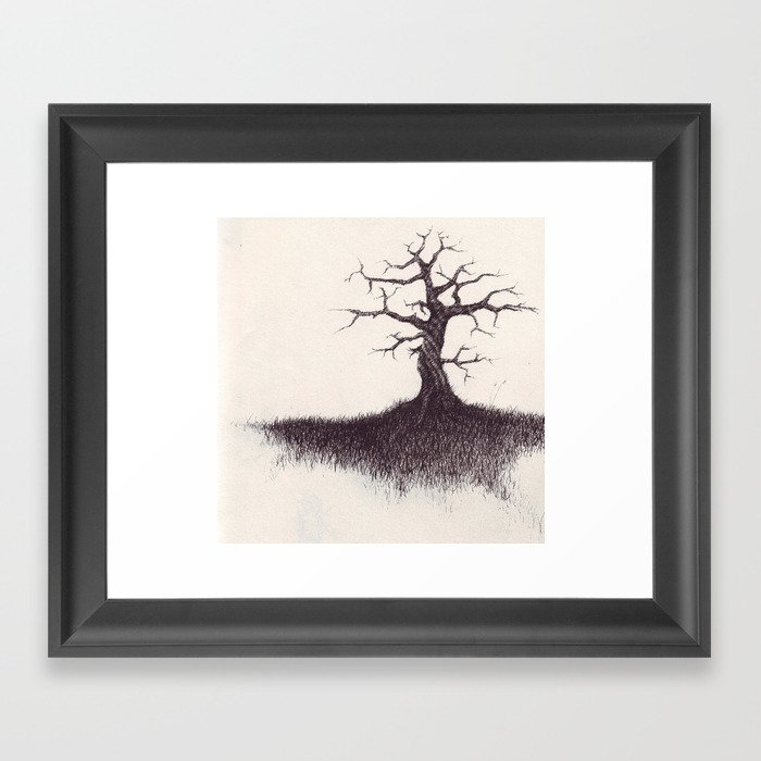 tree on the hill Framed Art Print