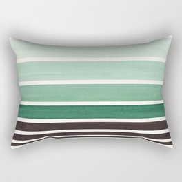 Deep Green Minimalist Watercolor Mid Century Staggered Stripes Rothko Color Block Geometric Art Rectangular Pillow