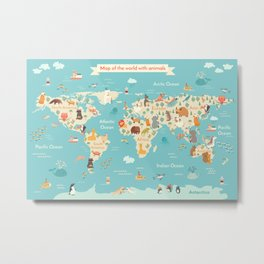 Animals world map for kid Metal Print