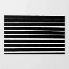 Rough White Thin Stripes on Black Canvas Print