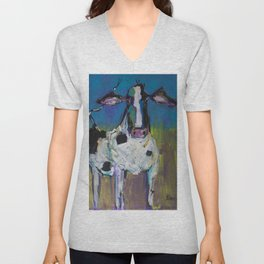 Abstract Holstein Unisex V-Neck