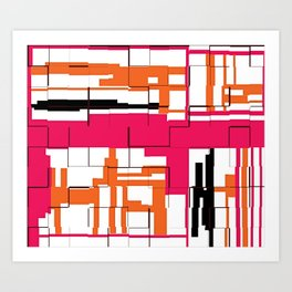 CREATIVE ART PRINT WITH ORANGE, BLACK AND PINK Art Print