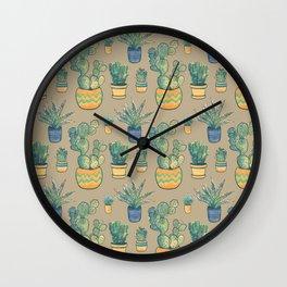 Desert Cactus Pattern_digital modern watercolor Wall Clock
