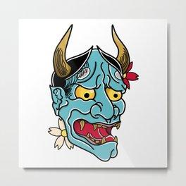 Hannya Mask Metal Print