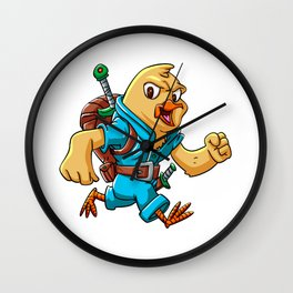 Yellow bird soldier cartoon illustration Wall Clock