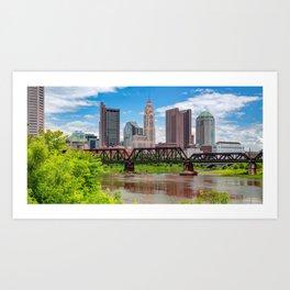 Columbus Skyline Panorama From North Bank Park Art Print