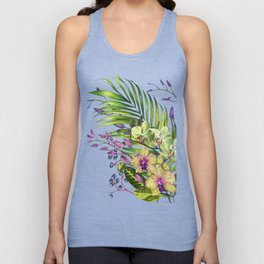 Bouquet, Orchid, Bud, Leaf Clipart, watercolor, handpainted, floral, flower, design, style, troical Unisex Tank Top