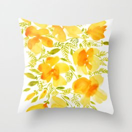 Watercolor California poppies (Quad set, #4) Throw Pillow