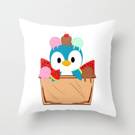 A Cute Illustrated Penguin In Blue And White T-shirt Design Ice Cream Sweets Cold Watermelon Cherry Throw Pillow