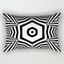 Stripe Star Pattern Black and White Rectangular Pillow