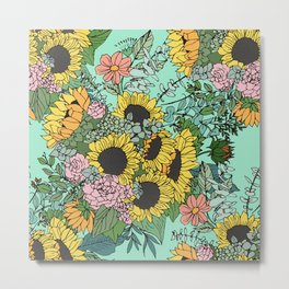 Trendy yellow sunflowers and pink roses mint design Metal Print