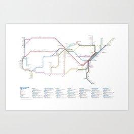 Amtrak as Subway Map 2016 - Current Services Art Print