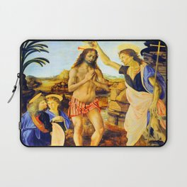 Leonardo da Vinci Baptism of Christ Laptop Sleeve