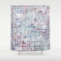 las vegas Shower Curtains featuring Las Vegas map by MapMapMaps.Watercolors