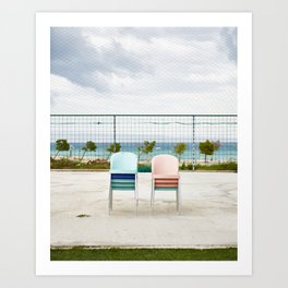 Pink and Blue Chairs Art Print