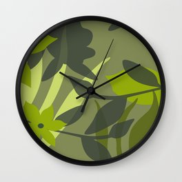 big jungle leaves green Wall Clock