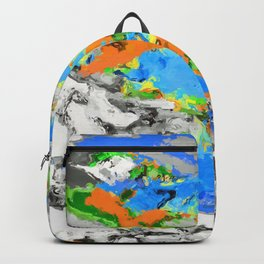 psychedelic splash painting abstract texture in blue green orange yellow black Backpack
