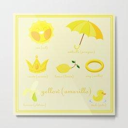 Colors: yellow (Los colores: amarillo) Metal Print