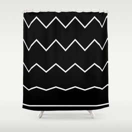 Waves Pattern, Geometric, Abstract, black and white, black version Shower Curtain