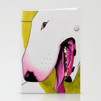 bull terrier Stationery Cards featuring Bull Terrier by Erin Shea