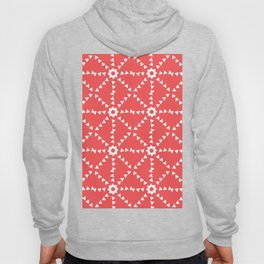 Triangle Geometric Pattern In Coral and White Hoody