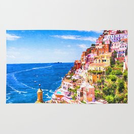 Colorful Positano Italy Rug