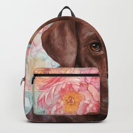 Flowers and Chocolate (chocolate lab dog watercolor portrait painting) Backpack