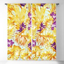 Gold Tropical Leaves Floral Pattern Multicoloured Bohemian Décor Blackout Curtain
