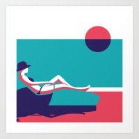 Pool and Sun Art Print