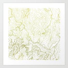 Secret places I - handmade green map Art Print