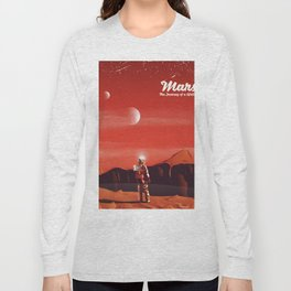 Mars Vintage Space Travel poster Long Sleeve T-shirt