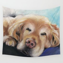 Sweet Sleeping Golden Retriever Puppy by annmariescreations Wall Tapestry