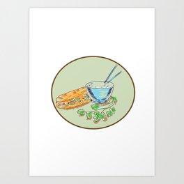 Bánh Mì Sandwich and Rice Bowl Drawing Art Print