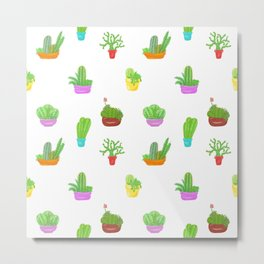 A Collection of Potted Cacti and Succulents Metal Print