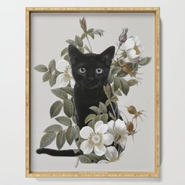 Cat With Flowers Serving Tray